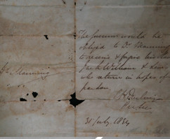A letter from Governor Sir Lionel Smith to Dr. John Manning requesting him to pardon 2 slaves dated 31st July 1834.