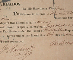 Travel Licence for a slave named William dated 16th March 1818